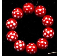 VINTAGE RED LUCITE WITH FACETED DOTS