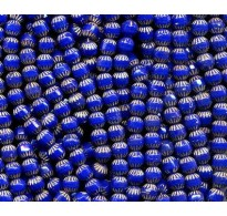 VINTAGE CZECH FACETED INCISED COBALT BEADS