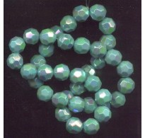 VINTAGE AB AQUA FACETED LUSTER BEADS