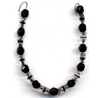 VINTAGE DECO CLEAR & BLACK CRYSTAL BEADS