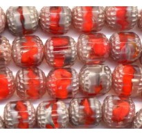 VINTAGE RED WG GIVRE WINDOW BEADS MED