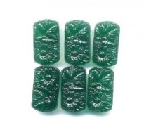 VINTAGE EMERALD GREEN 2 HOLE FLORAL BEADS