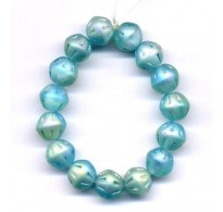 VINTAGE INCISED IRIDESCENT LIGHT AQUA BEADS