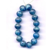 VINTAGE INCISED IRIDESCENT BLUE BEADS