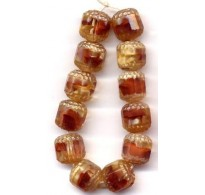 VINTAGE CARAMEL WEST GERMAN GIVRE WINDOW BEADS