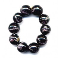 VINTAGE BLACK BEADS WITH SILVER FOIL SWIRLS
