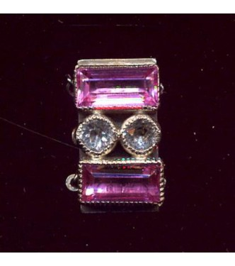 1920's PINK & CLEAR RHINESTONE CLASP
