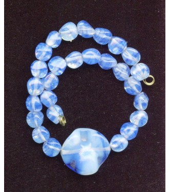 BEAUTIFUL BLUE OPALESCENT CENTER BEAD AND MORE