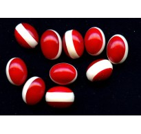 VINTAGE DECO LOOK RED AND WHITE LUCITE BEADS