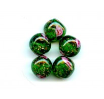 VINTAGE VENETIAN GREEN NUGGETS WITH ROSES
