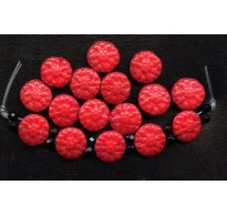 VINTAGE 2 HOLE RED FLOWER BEADS