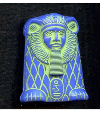 VINTAGE ROYAL BLUE EGYPTIAN REVIVAL SPHINX BEAD