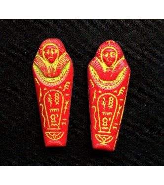 Egyptian Revival Mummy Beads (RED)