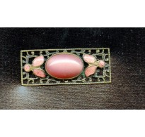 VINTAGE 1920'S PINK AND FILIGREE PLAQUE