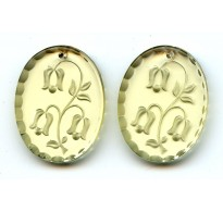 VINTAGE PALE YELLOW OVAL ETCHED PENDANT
