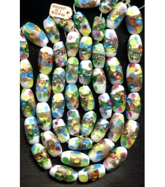 VINTAGE JAPANESE WHITE LAMPWORK WITH COLORED FOIL
