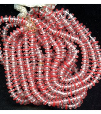 VINTAGE CLEAR AND RED RONDELLS