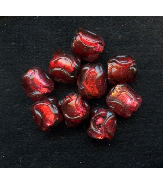 VINTAGE JAPAN LAMPWORK RUBY RED FOILS (Large)