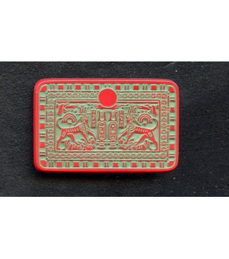 EGYPTIAN REVIVAL RED AND GREEN STONE