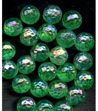 VINTAGE DIMPLED GREEN IRIDESCENT BEADS