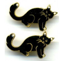 VINTAGE BLACK ENAMEL CATS JUST IN TIME FOR HALLOWEEN