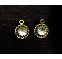 VINTAGE SWAROVSKI STONES SET IN BRASS w/ LOOP