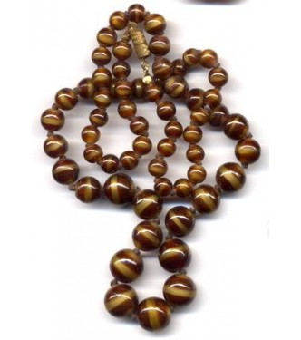 VINTAGE CZECH CARAMEL & CHOCOLATE NECKLACE