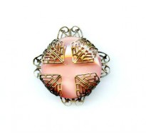 VINTAGE SATIN GLASS & FILIGREE PENDANT