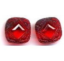 VINTAGE RUBY RED GLASS DECO STONES